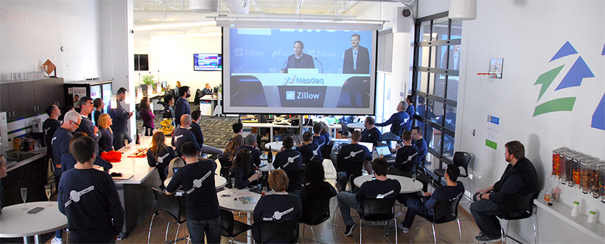Watching the Zillow NASDAQ bell-ringing from Lincoln